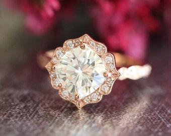 14k Rose Gold Moissanite Engagement Ring Vintage Floral Ring Scalloped Diamond Wedding Band 8x8mm Cushion Forever Brilliant Moissanite Ring