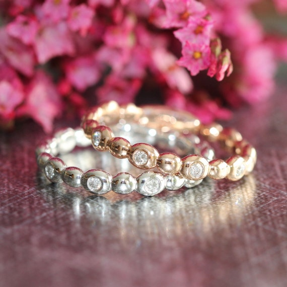 Pebble Diamond Wedding Ring Womens in Half Eternity Diamond Band