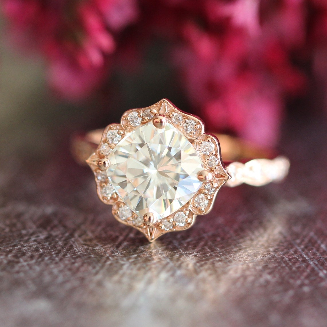 Engagement Rings With Moissanite: 14k Rose Gold Moissanite Engagement Ring Vintage Floral Ring