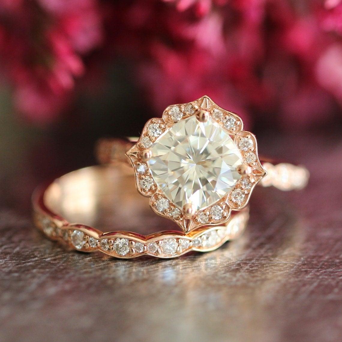 14k rose gold moissanite engagement ring wedding set scalloped. Black Bedroom Furniture Sets. Home Design Ideas