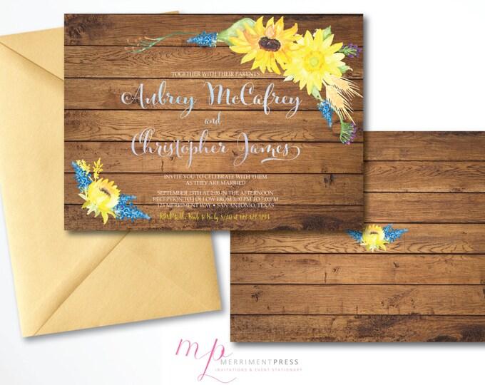 Sunflower Wedding Invitation Wood Watercolor Sunflower Invitation Calligraphy Bridal Invitation Yellow, Blue Rustic - ABILENE COLLECTION