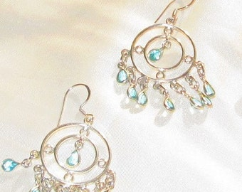 Large  Sterling Silver and BLUE TOPAZ chandelier  earring, 925, sterling silver