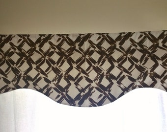 """Brown and White  Valance, Scalloped Valance, Lined Brown and White valance, 52"""" wide and 16"""" long."""