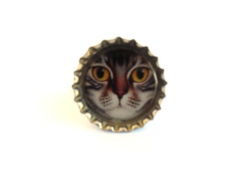 Cat Illustration Bottle Cap Resin Ring Recycled Handmade Jewelry