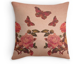 Rose Cushion, Butterfly Cushion, Rose Pillow, Rose Decor, Butterfly Decor, Butterfly Gift, Floral Cushion, Dusty Pink, Pink Cushion