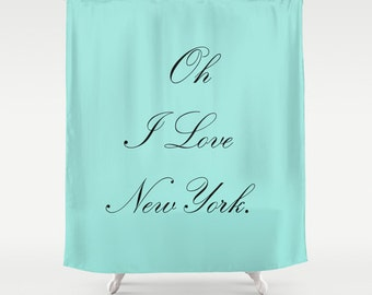 Breakfast at Tiffany's, Shower Curtain, Aqua, Breakfast at Tiffanys Decor, New York Shower Curtain, Girls Shower Curtain, Girls Bathroom