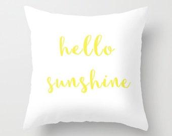 Velveteen Pillow - Hello Sunshine - Hello Sunshine Pillow - Girls Pillow - Teen Room Decor - Dorm Room Decor - Yellow Accent Pillow - Yellow