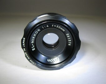 Excellent+++ Nikon EL-Nikkor 50mm 1:4 50mm Enlarging Lens F 4 F/4 with bubble case, original Nikon box, and mounting ring