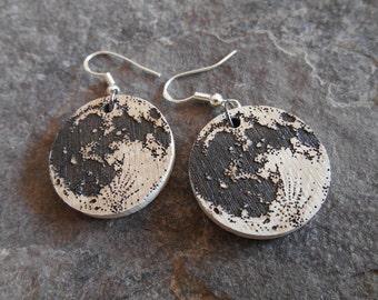 Wood Earrings - Full Moon Earrings - Ivory