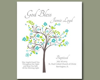 Baptism Gift from Godparents - Christening Gift for boys - Nursery Decor - Baptism Tree - Christening Keepsake