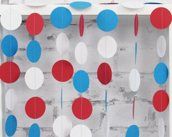 Fourth of July Garland - 4th of July Decor - Patriotic Paper Garland - Red White and Blue Garland