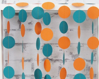 Miami Party Decoration - Orange and Teal Garland - Orange Paper Garland