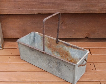 Galvanized Drawer Box, Vintage Galvanized Handled Box, Galvanized Planter Box, Flower Box