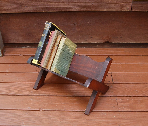 Wood Book Rack ~ Small wooden book shelf vintage rack stand wood
