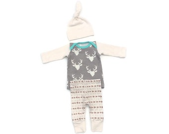 Newborn boy coming home outfit, baby boy, infant outfit, boy clothes, Deer newborn boy take home outfit, hospital outfit, buck, boy