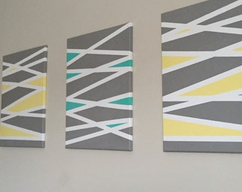 Set of 3 geometric print canvas