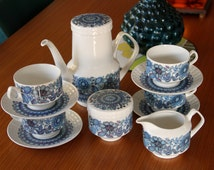 "Gorgeous Vintage 1970's Pontesa  ""Castilian Blue Coffee set"