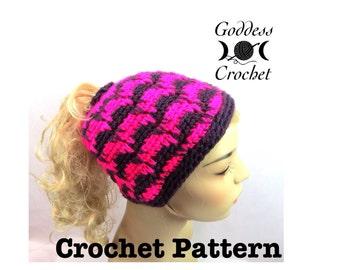 Ponytail Hat Crochet Pattern, Spiked Punch Crochet Beanie Pattern - Boho, Hippie, Festival, Instant Download PDF
