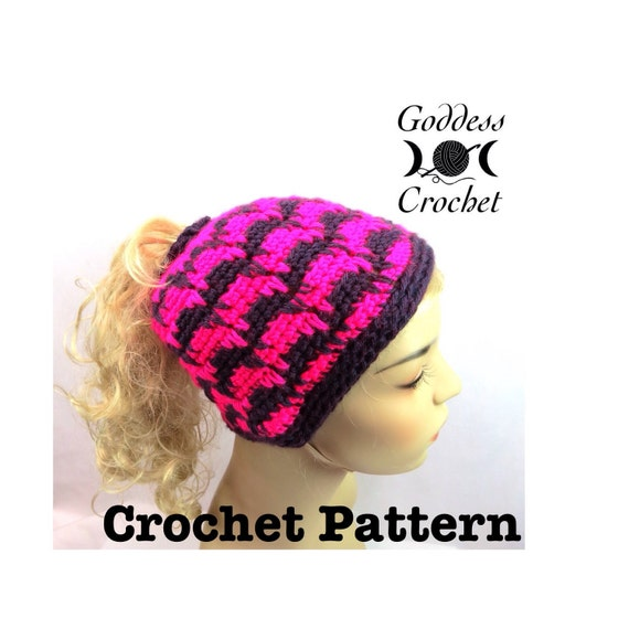 Ponytail Hat Crochet Pattern, Spiked Punch Crochet Beanie Pattern ...