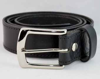 Personalized Men's Leather Belt. 1-1/4 Inch Wide. Includes Custom Imprinting, Black or Brown, Beautiful Supple Textured Leather MB7106