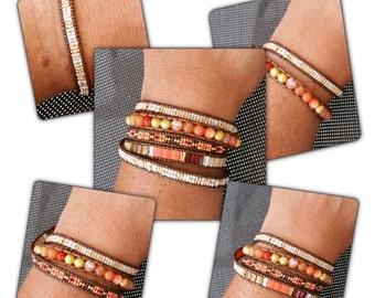 """""""Aurore"""" wrap bracelet 5 rows"""