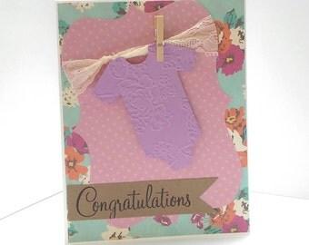 handmade greeting card,baby girl baby shower,baby card,baby shower invites,baby shower invitation,onsie baby shower invitation, floral onsie