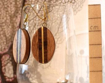Leaf in Lacewood Earrings - Smooth Lacewood Earrings (240)