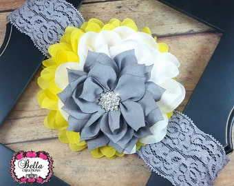 Yellow White and Grey headband, infant headband, baby headband, baby bow, lace headband, flower headband, yellow and grey headband