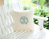 Silk Monogram Pillow, Personalized Letter Initial Custom Made Monogrammed Silk Pillow
