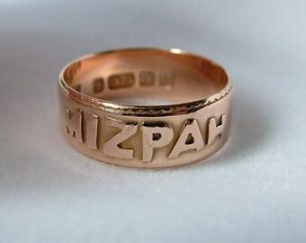 C.1900 Antique Rose Gold Mizpah Ring * 9ct Gold Mizpah Ring * Gold Mizpah Ring * Victorian Gold Ring *  Antique Gold Mizpah Ring