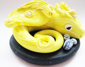 Yellow Jewelled Dragon Sculpture, Polymer Clay Dragon, Welsh Dragon Figurine, Dragon Ornament, Marbled Dragon, Melyn The Welsh Dragon, OOAK