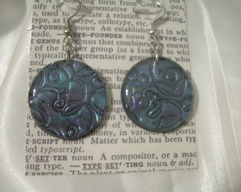 Iridescent Earrings Floral Imprint Distressed