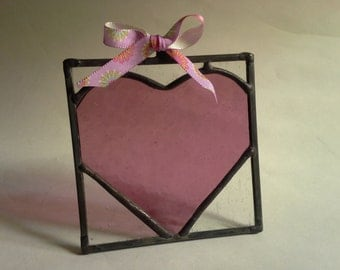 Stained Glass Valentine Heart Panel-Pink w/Pink Print Ribbon Bow-4inX4in