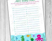 Under the sea Baby shower games ocean abc baby game Printable INSTANT DOWNLOAD  UPrint  by greenmelonstudios under the sea baby shower