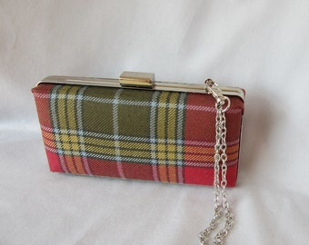 Clan Buchanan Weathered Tartan Clutch Purse, Mini audiere, Made in Scotland for Ceilidh / Wedding or Special Occasion