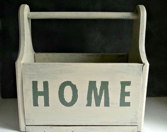 Storage Box, Storage Caddy Tool ,tote Caddy, Storage Organization Carry  Upcycle Painted OOAK