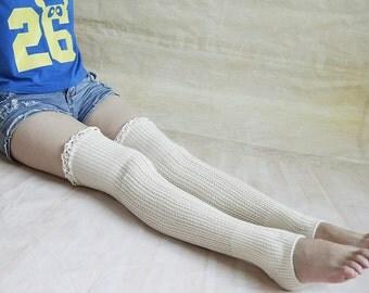HANDMADE - Cream Boot Socks Tall Boot Socks Leg Warmers Knit Boot Socks Knee Socks Womens Lace Socks Starsocks 1111
