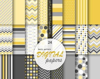 Yellow&gray digital paper mustard yellow dark gray gray basic pattern polka dot stripe chevron simple party background instant download