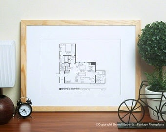 Frasier Apartment Poster Tv Show Floor Plan Blueprint Art