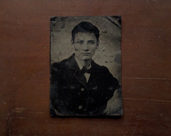 Antique Large Tintype Portrait Of A Young Man • free shipping • 25% OFF EVERYTHING! promo code: GRATITUDE