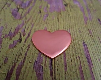 "Copper 1"" Heart Stamping Blanks - 18 Gauge Copper Blanks"