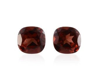 Mozambique Red Garnet Set of 2 Loose Gemstones Cushion Cut 1A Quality 4mm TGW 0.65 cts.