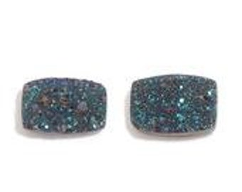 Caribbean Blue Drusy Quartz Cushion Cabochon Loose Gemstones Set of 2 1A Quality 6x4mm TGW 0.90 cts.