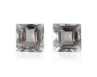Aquamarine Loose Gemstones Set of 2 Square Cut 1A Quality 3mm TGW 0.25 cts.
