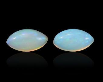 Ethiopian Opal Loose Gemstones Set of 2 Marquise Cabochon 1A Quality 6x3mm TGW 0.20 cts.
