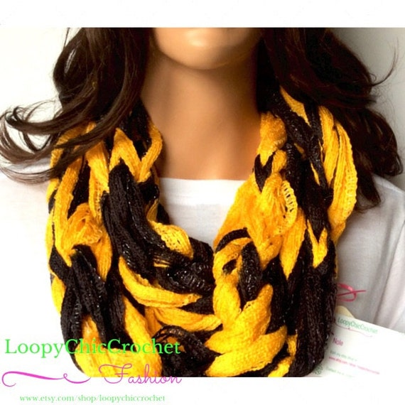 black and gold chunky arm knit infinity scarf for gifts
