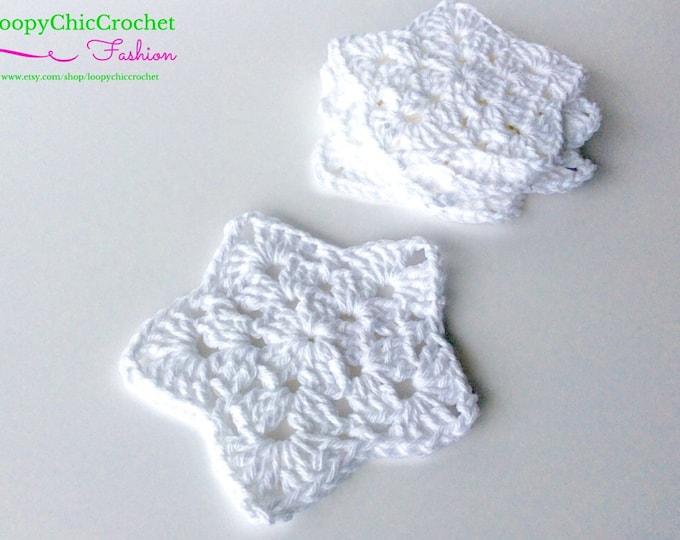 Star Drink Coasters SET of 5, Crochet Coasters, Primitive Drink Coasters, Americana Drink Coasters