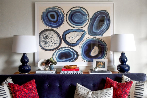 Agate Wall Decor Agate Slice Art Geode Print Wall On Diy Agate Art Framed Blue Slices Room And Decorati
