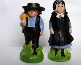 Cast Iron Amish Man and Woman Salt and Pepper Shakers / Vintage Shakers