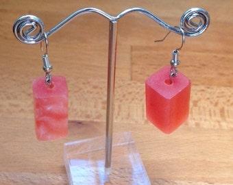 Pink / watermelon block resin beads on silver hooks